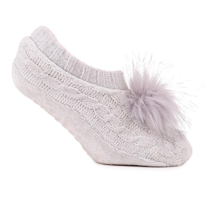 totes Ladies Chenille Footsie Grey