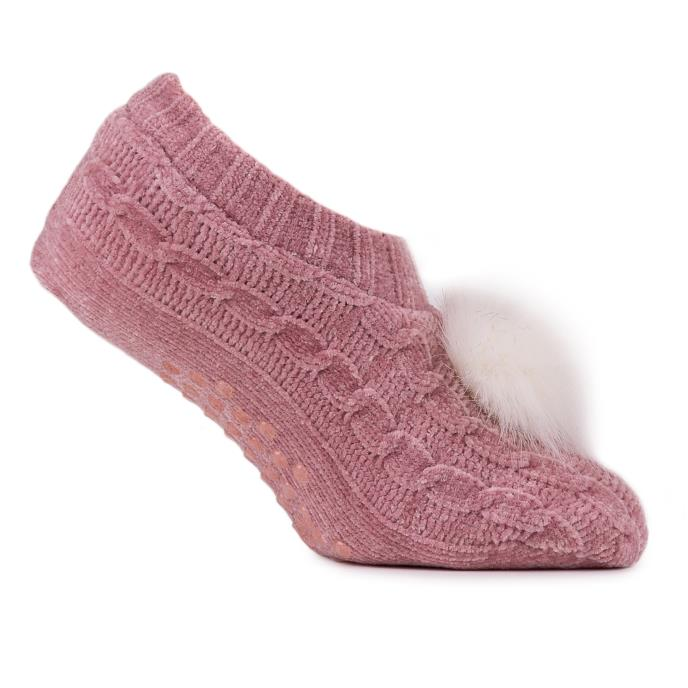 totes Ladies Chenille Footsie Pink