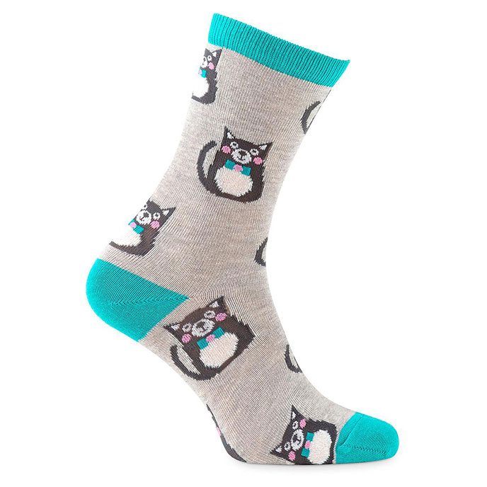 totes toasties Ladies 3 Pack Novelty Day Sock Cat