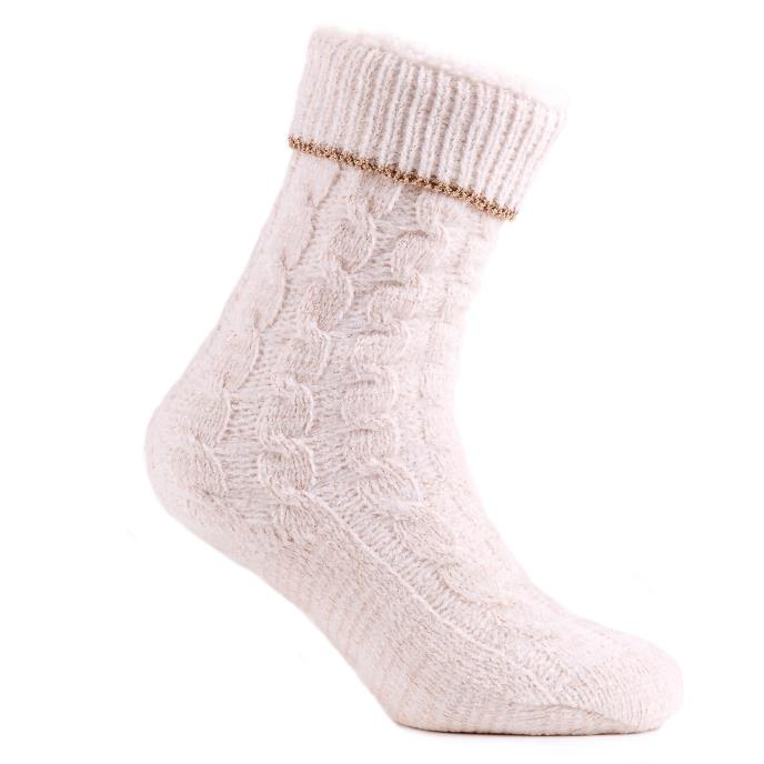 totes Ladies Sherp Lined Chenille Cable Slipper Socks Cream