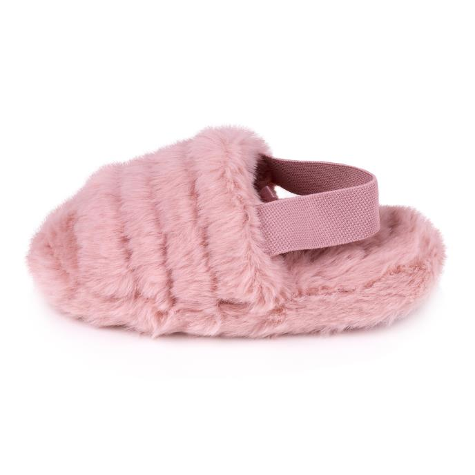 totes Childrens Faux Fur Slingback Slippers Pink