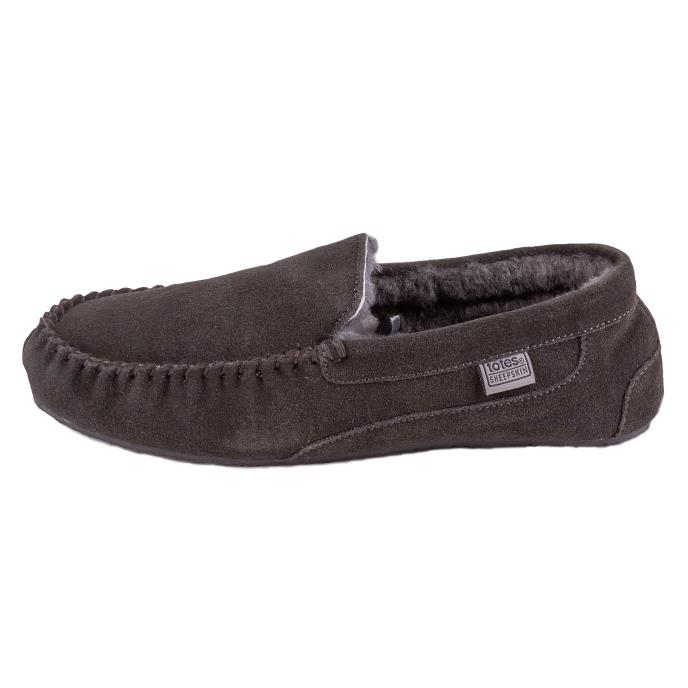 totes Mens Sheepskin Moccasin Slipper Charcoal