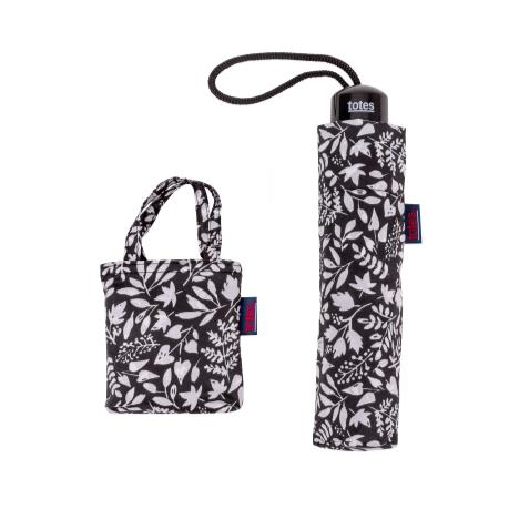 totes Supermini Foliage Umbrella & Matching Shopping Bag