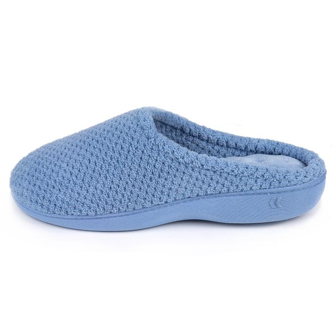 Isotoner Ladies Popcorn Terry Mule Slippers Cornflower Blue