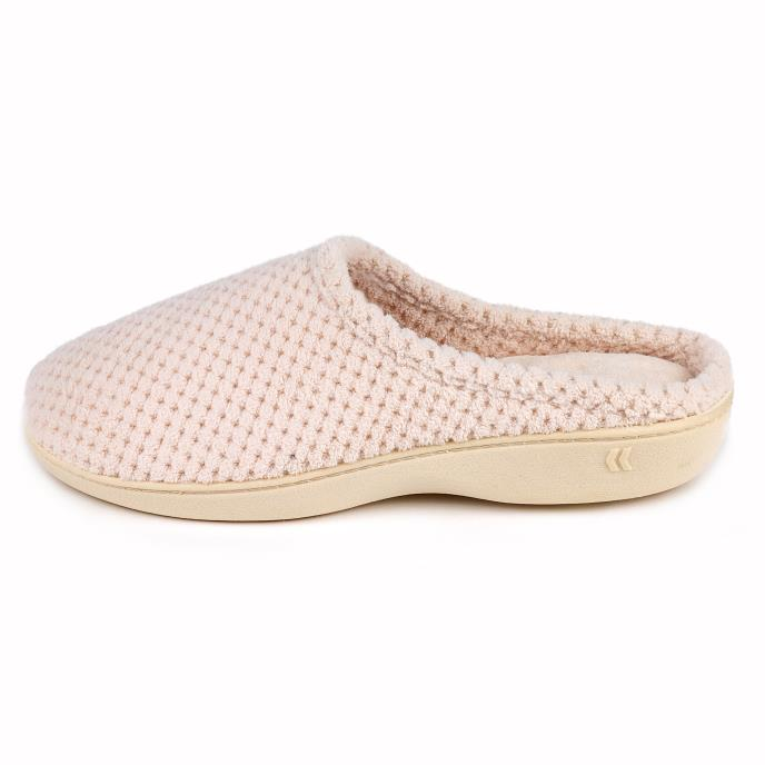 Isotoner Ladies Popcorn Terry Mule Slippers Natural