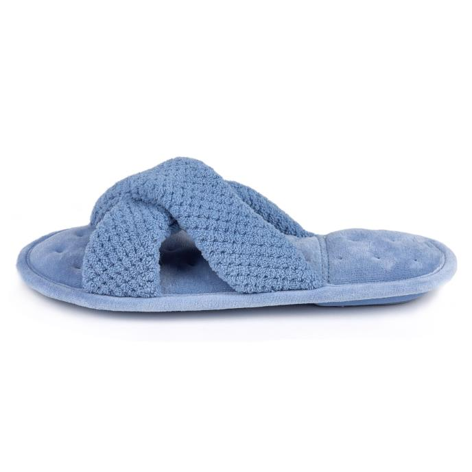 Isotoner Ladies Popcorn Cross Strap Open Toe Slippers Cornflower Blue
