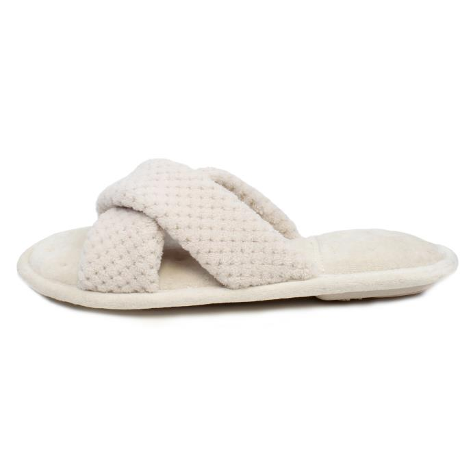 Isotoner Ladies Popcorn Cross Strap Open Toe Slippers Natural