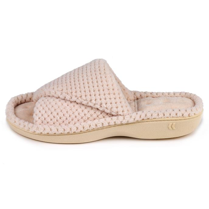Isotoner Ladies Popcorn Turnover Open Toe Slippers Natural