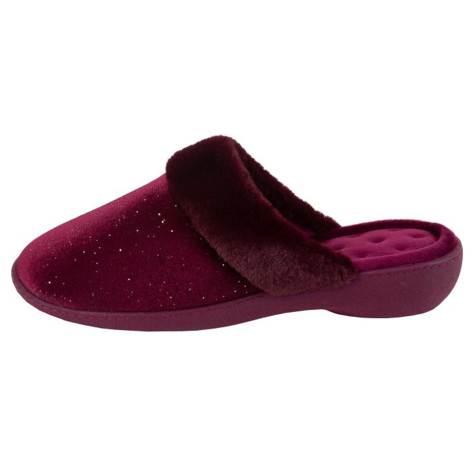 Isotoner Ladies Sparkle Velour Heeled Mule Slipper Burgundy