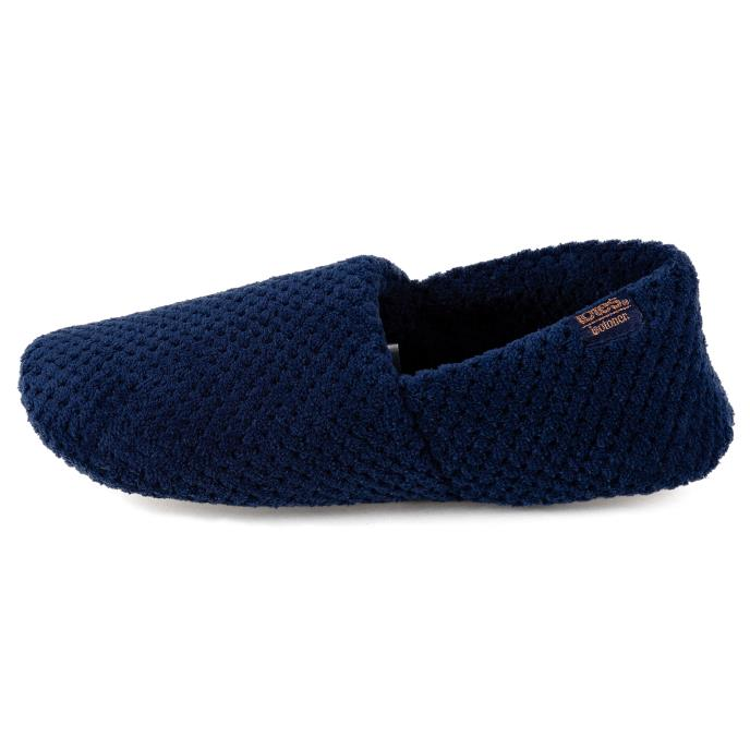 Isotoner Ladies Popcorn Moccasin Slippers Navy