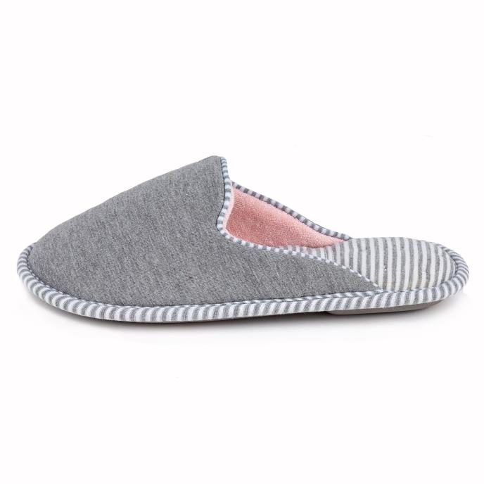 Isotoner Ladies Stripe Mule Slipper Grey/Pink