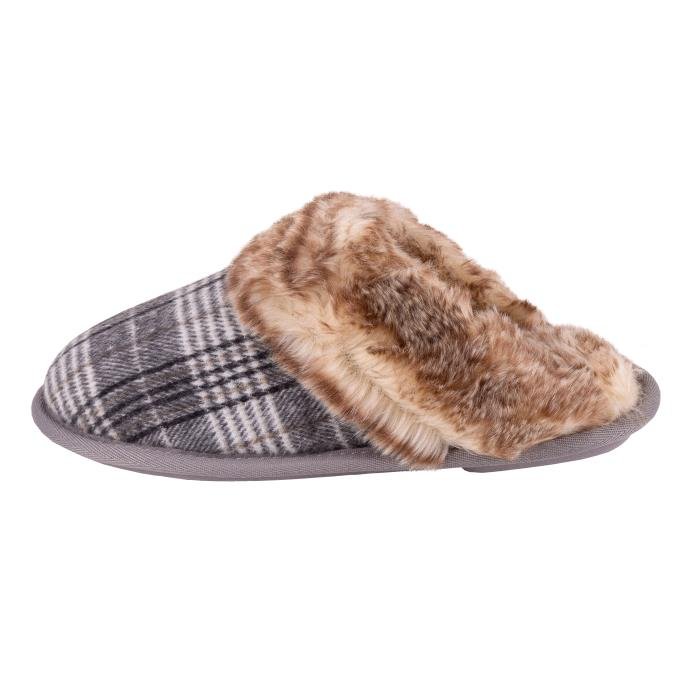 Isotoner Ladies Check Mule Slipper with Tipped Fur Cuff Grey and Cream Check