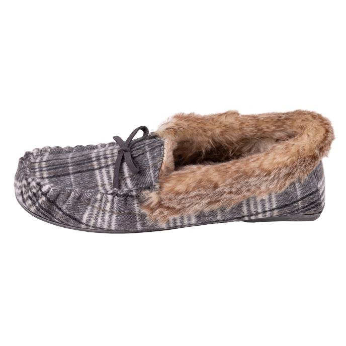 Isotoner Ladies Check Moccasin Slipper with Tipped Faux Fur Cuff Grey and Cream Check