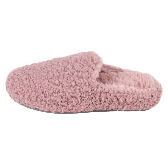 Isotoner Ladies Fluffy Mule Slipper Pink
