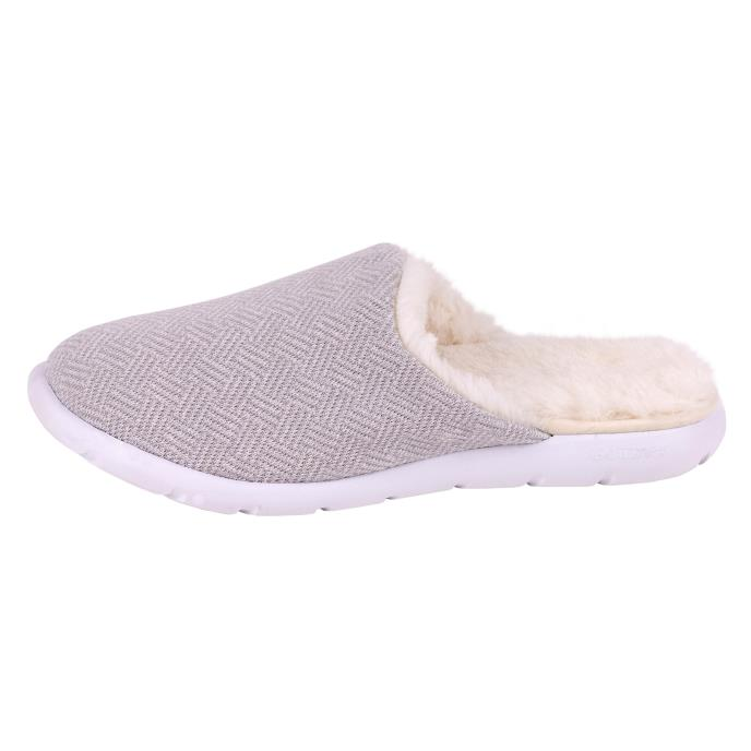Isotoner Ladies iso-flex Herringbone Mule Slipper Grey