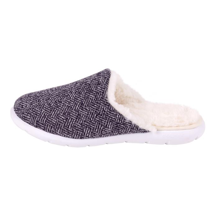 Isotoner Ladies iso-flex Herringbone Mule Slipper Navy