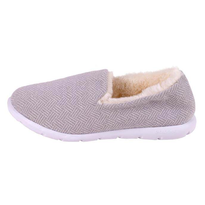 Isotoner Ladies iso-flex Herringbone Full Back Slipper Grey