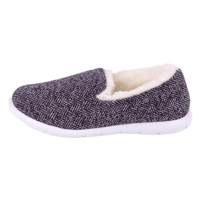 Isotoner Ladies i-Flex Herringbone Full Back Slipper Navy