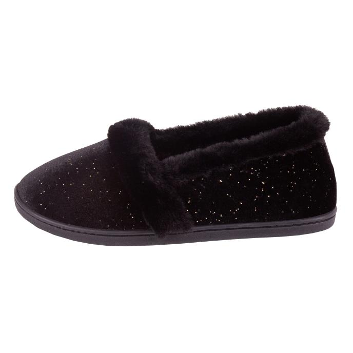 Isotoner Ladies Sparkle Velour Full Back Slipper  Black