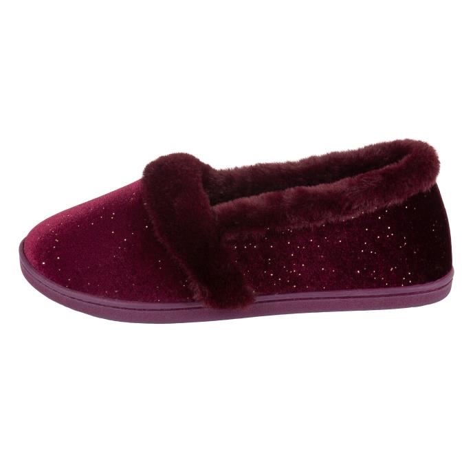 Isotoner Ladies Sparkle Velour Full Back Slipper  Burgundy