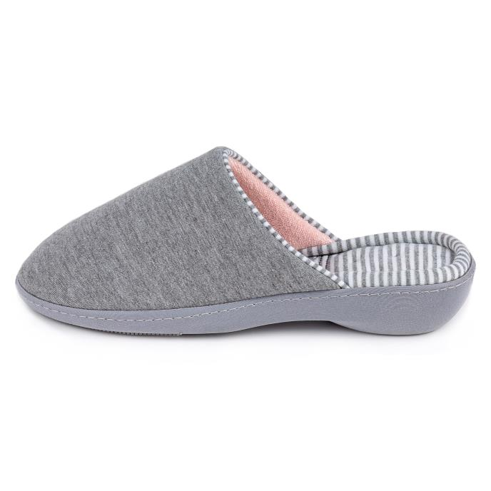 Isotoner Ladies  Striped Heeled Mule Slipper Grey