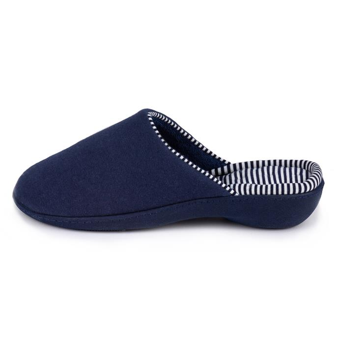 Isotoner Ladies  Striped Heeled Mule Slipper Navy