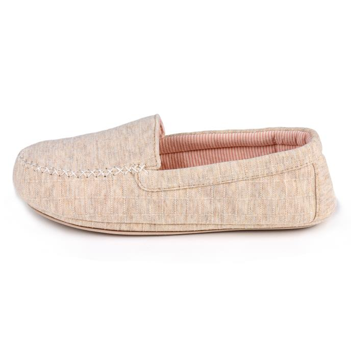 Isotoner Ladies Textured Moccasin Slippers Natural