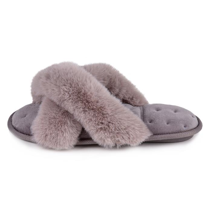 Isotoner Fluffy Cross Front Mule Slippers Grey