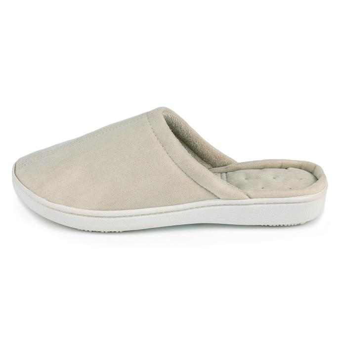 Isotoner Ladies Suedette Mule Slipper Natural