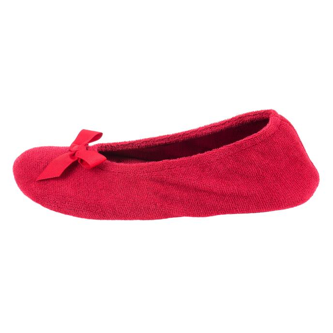 Isotoner Ladies Terry Ballerina Slippers Red