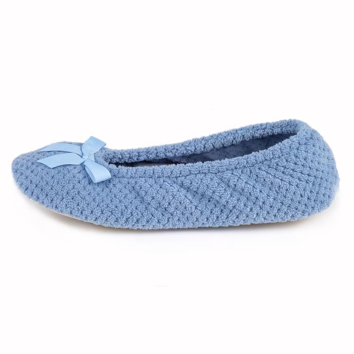 Isotoner Ladies Popcorn Ballet Slippers Cornflower Blue
