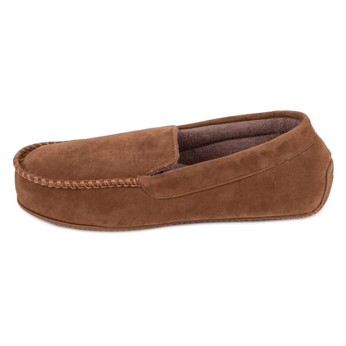 Isotoner Mens Airtex Suedette Moccasin Slipper Tan