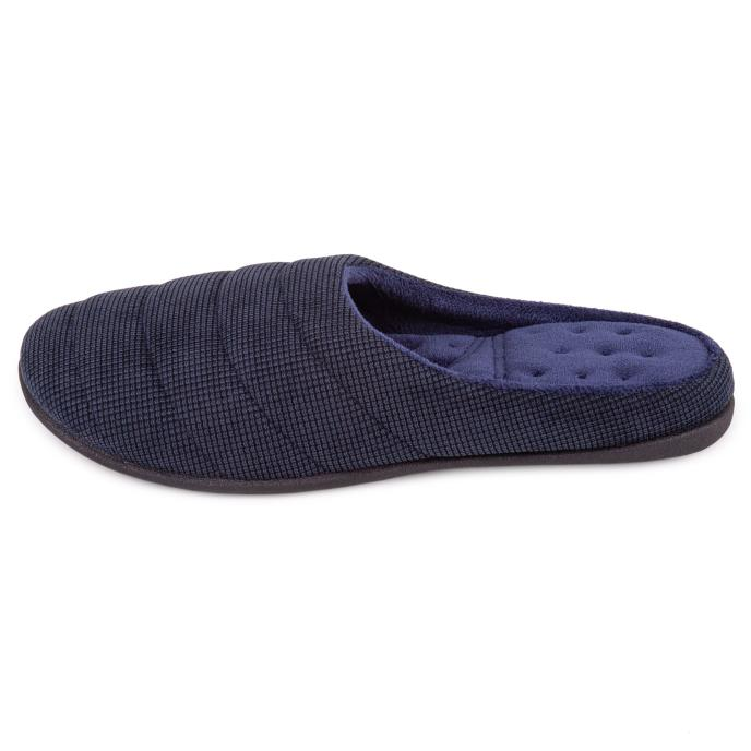 Isotoner Mens Textured Cord Stitched Mule Slipper Navy