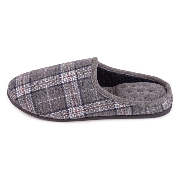 Isotoner Mens Felt Check Mule Slipper Grey Check