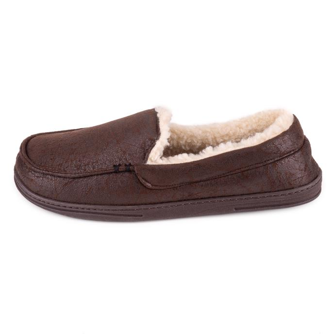 Isotoner Mens Distressed Moccasin With Check Slipper Chocolate