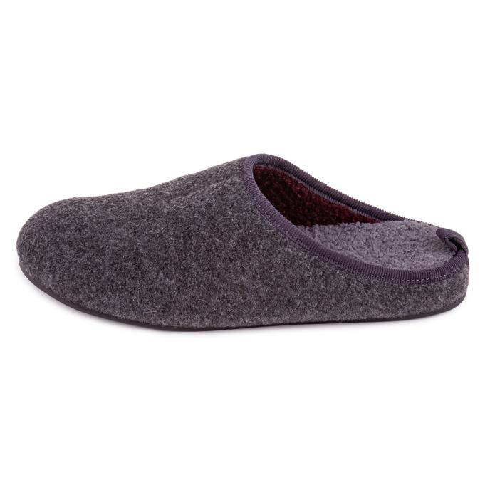 Isotoner Mens Felt Mule Slipper With Curly Fur Grey