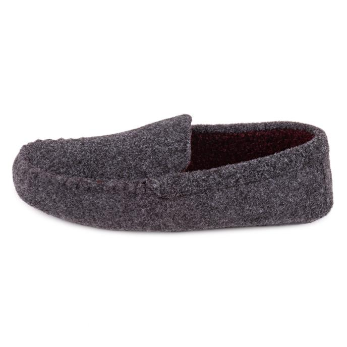 Isotoner Mens Felt Moccasin Slipper With Curly Fur Grey