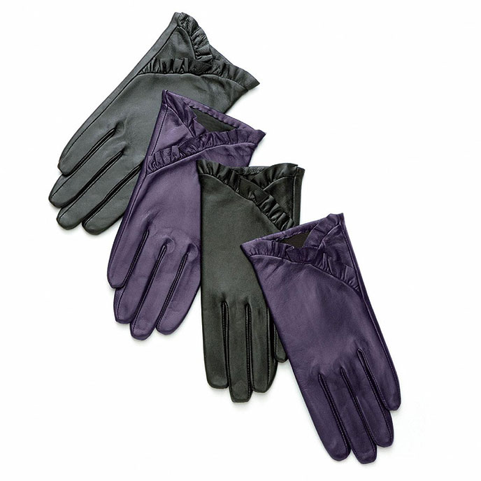 isotoner Frilled Edge Leather Glove Black