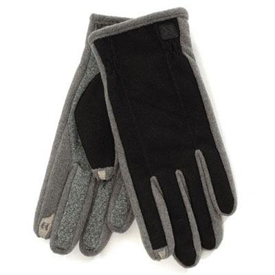 SmarTouch Mens Diamond Tech Grip 2 Finger Touchscreen Gloves Black & Grey