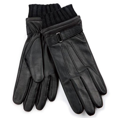 isotoner Knit Cuff Leather Glove with Strap Detail Black