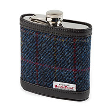 totes Mens Harris Tweed Hip Flask Navy Tweed