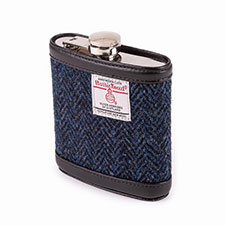 totes Mens Harris Tweed Hip Flask Navy