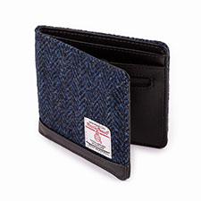 totes Mens Harris Tweed Wallet Navy