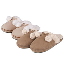 totes Suedette Mule Slippers with Pom Pom