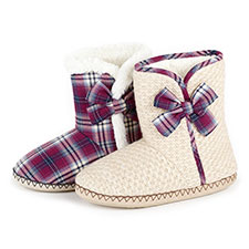 totes Ladies Knitted Bootie With Tartan Trim Slippers
