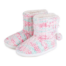 totes Ladies Cable Knitted Space Dye Bootie Slippers