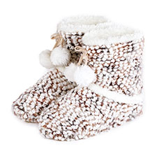 totes Ladies Bobble Knitted Bootie Slippers