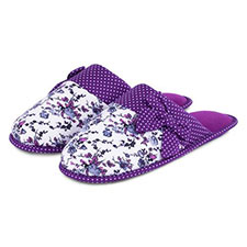 totes Jersey Floral Mule Slippers with Spot Lining