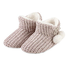 totes Ladies Chenille Knitted Bootie Slipper