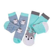 totes tots Original Novelty Slipper Sock (Twin Pack) Penguin/Deer